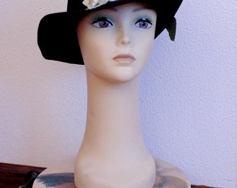 BLack wool Felt Derby Hat with Spray of White Orchids