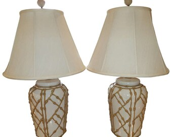 Pair of Hollywood Regency Chinoiserie Faux Bamboo Lamps