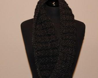 Smokey Grey Black Chunky Cowl Scarf - Hand Knit