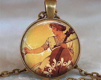 Art Nouveau Cellist pendant, musician's gift music teacher gift cellist gift cello necklace music student gift key chain key ring key fob