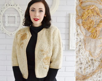 Vintage 1950s Cream and Gold Floral Applique Open-Front Cardigan Size Medium