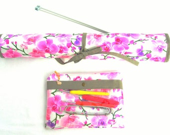 Knitting Needle Organizer. Knitting needle roll. DPN organizer. Knitting notions pouch. Floral fabric needle roll. Sewing notions pouch