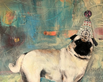 dog pug love abstract original large mixed media painting
