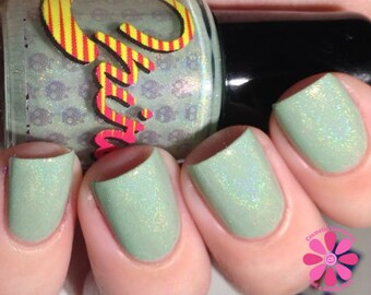 Rosencrantz. Mint green linear holographic nail polish. (15 mL, .5 oz)