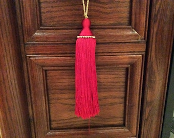 Red Tassels with Gold Beads ornaments ,Christmas decorations, Christmas tree decor , Supplies, large Tassels, Fringe Tassel, 2.00 each