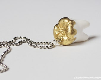 Human Tooth with Liquid Gold - Necklace