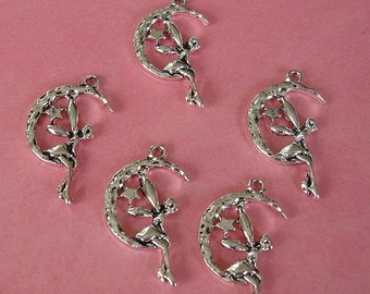 10pcs-  Antique Silver Fairy Charm 25x15mm.