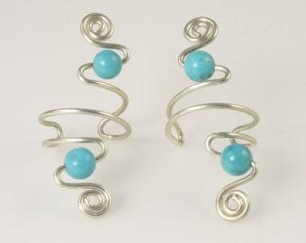 Gemstone Ear Cuff Earrings - Available in 10 Gemstone Colors - Sterling Silver Ear Cuffs - Gemstone Ear Cuff - Wire Ear Cuffs - Non Pierced