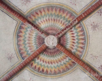 Ceiling geometric pattern Architectural prints, fine art photography prints, medieval sacred geometry, Italy art, Gothic church ceiling