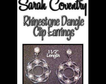 Vintage Silvertone Rhinestone Clip Earrings Signed Sarah Coventry * S70