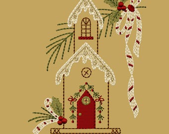 MACHINE EMBROIDERY-Birdhouse Christmas-5x7-Fill-Instant Download