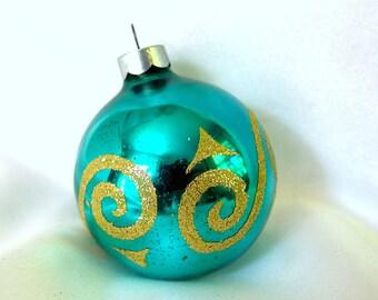 Aqua Christmas Ornament with Gold Glitter Swirls, Vintage Christmas Ornament