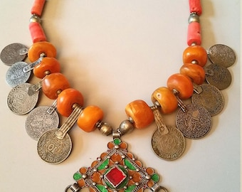 Berber Moroccan faux amber,coral tube beads and silver enamel and Maroc coin pendant necklace
