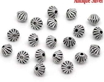 100 Antique Silver Striped Bicone Spacer Beads 5mm x 4mm (B158e)