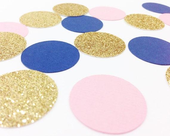 "Light Pink + Navy Blue + Gold Glitter Confetti - 1"" - Wedding. Bachelorette. Bridal Shower. Engagement Party. Baby Shower. Birthday."