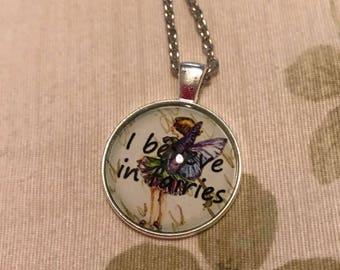 "Silver Accented ""I Believe in Fairies"" Pendant Dangle Necklace, Spiritual Creature"