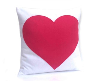 Heart Throw Pillow Cover Appliquéd in Pink on Pure White Eco-Felt 18 inches