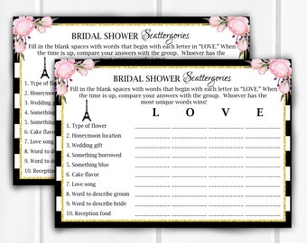 Bridal Shower Scattergories, Bridal Shower Game, Item 712