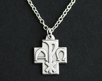 Alpha omega etsy it alpha omega necklace catholic necklace alpha omega medal necklace catholic medal necklace mozeypictures Gallery