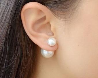 Double pearl earring, Bridal pearl earings, Wedding pearl earrings, Bridesmaid Gift