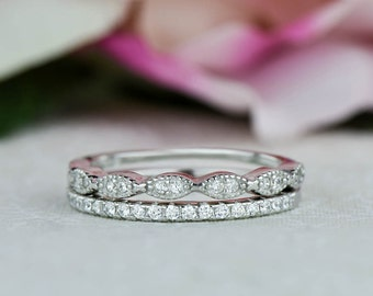 Art Deco Wedding Band and Half Eternity Band, Dainty Stacking Rings, Minimalist Engagement Ring, Man Made Diamond Simulants, Sterling Silver
