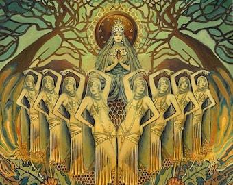 Bee Goddess Art Deco Pagan Honey Queen 16x20 Poster Print Mythology Psychedelic Bohemian Gypsy Goddess Art