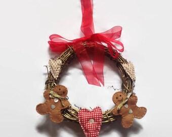 Christmas Wreath, Primitive Wreath, Christmas Decoration, Gingerbread Man Decor, Heart Decor, Gingerbread Man Wreath, Thanks Giving Wreath