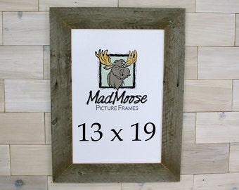 """13x19 Barn Wood [Thin x 3""""] Picture Frame . . . (aka old rustic distressed reclaimed gray barnwood 13 x 19 photo frame)"""