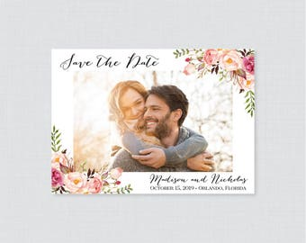 Printable OR Printed Photo Save the Date Cards - Pink Floral Photo Save our Date Cards for Wedding - Rustic Pink Flower Save the Dates 0004
