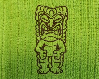 Embroidered Tiki Pole Kitchen Towel in Choice of Colors