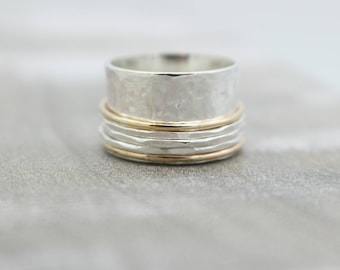 Sterling Silver Gold Meditation rings - Spinner Ring - gold Filled - Silver - Brushed Ring Band - Jewelry sale