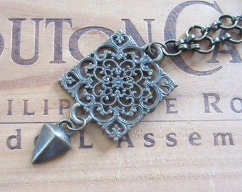 Steampunk Brass Filigree and Pendulum Necklace