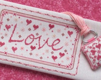 TA SMITH DESIGNS Endearing Love counted cross stitch patterns at thecottageneedle.com Valentine's Day thread keeper