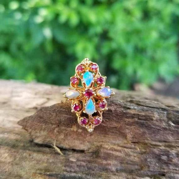 Modern estate 14k gold opal ruby statement cocktail navette ring, size 6-1/2
