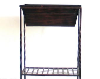 Plant Stand Metal Shelf Wrought Iron Removable Tray