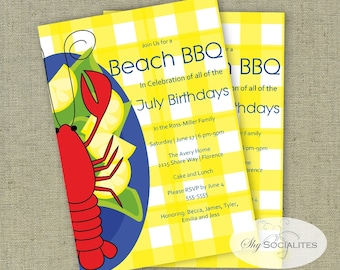 Lobster Invitation | Lobster Dinner | Lobster Bake, Seafood Boil, Craw fish Boil, Beach BBQ, Beach Bake | INSTANT DOWNLOAD or Printed Cards