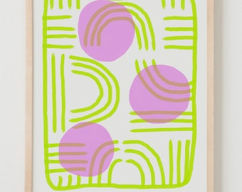 Fine Art Print.  Abstract Yellow and Pink, December 5, 2017.
