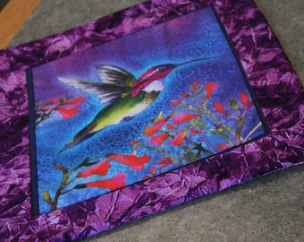 Purple Hummingbird Floral 16 X 14  Table Runner Topper