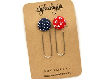 Red White Blue Patriotic Giant Button Paper Clip Bookmarks, Patriotic Book Accessories, Book Lover, Planner Accessories, Handmade Gift Idea