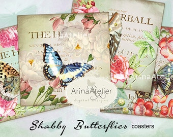 COASTERS Shabby Butterflies - Digital Collage Sheet - Scrapbooking Supplies - Digital Printables - Butterflies Images for download - Tags
