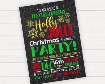 Christmas Party Invitation Christmas Party Invite Holiday Party Invitation Holiday Party Invite Holly Jolly Printable Christmas Invitation