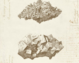 "Vintage Crystals ""Cristaux"" on French Ephemera Print 8x10 Minerals Geology Crystal Print 5x7 P289"