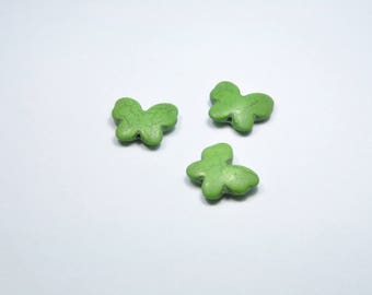 PE344 - Set of 3 Butterfly green stone beads