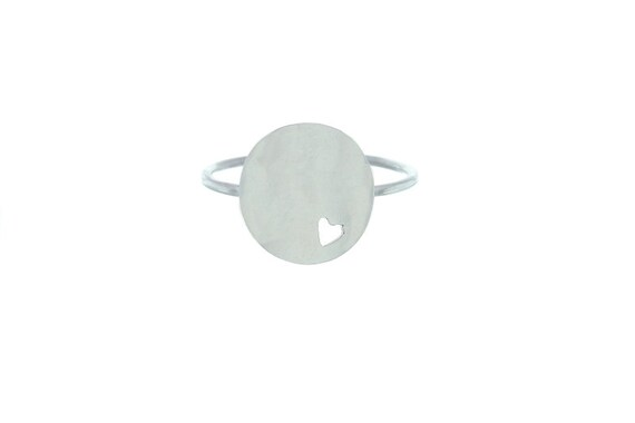 Sterling Silver Heart Ring, I love you Ring, Minimal Heart Ring,  Boho Ring.