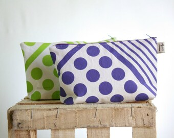 Modern pouch geometric pattern lime green or purple - Fabric makeup bag - Modern fabric zipper pouch - Dots and lines hand printed small bag