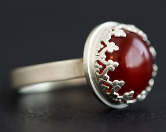 Sterling Silver Ring, Silver Ring, Silver Rings with Stones, Carnelian, Red Stone, Silver Rings for Women, Statement Ring, Rings for Women