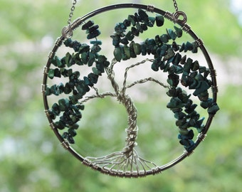 Willow Tree of Life, Genuine Turquoise Tree of Life,  Suncatcher, Tree of Life Wall Art,  Wire Tree Gemstone, Wire Art, Wire tree sculpture