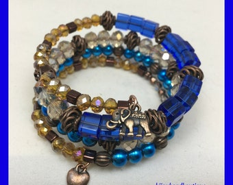 Copper & Blue Memory Wire Bracelet, Cuff Bracelet, Elephant Charm Bracelet, One of a Kind, Gift ideas, Birthday gift,