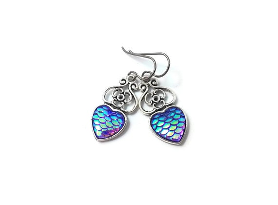 Heart of mermaid dangle earrings - Purple dreams - Hypoallergenic pure titanium, stainless steel and resin