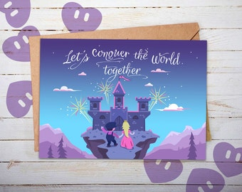 Love Cards, Anniversary Cards, Super Mario, Princess Peach, Castle, Nintendo, Geeky Anniversary, Geeky Couples Gift, for Him, for Her, N64